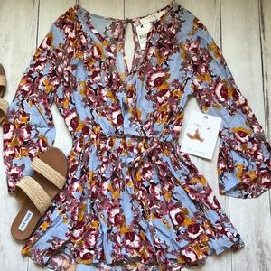 Astr The Label floral long sleeved romper NWT